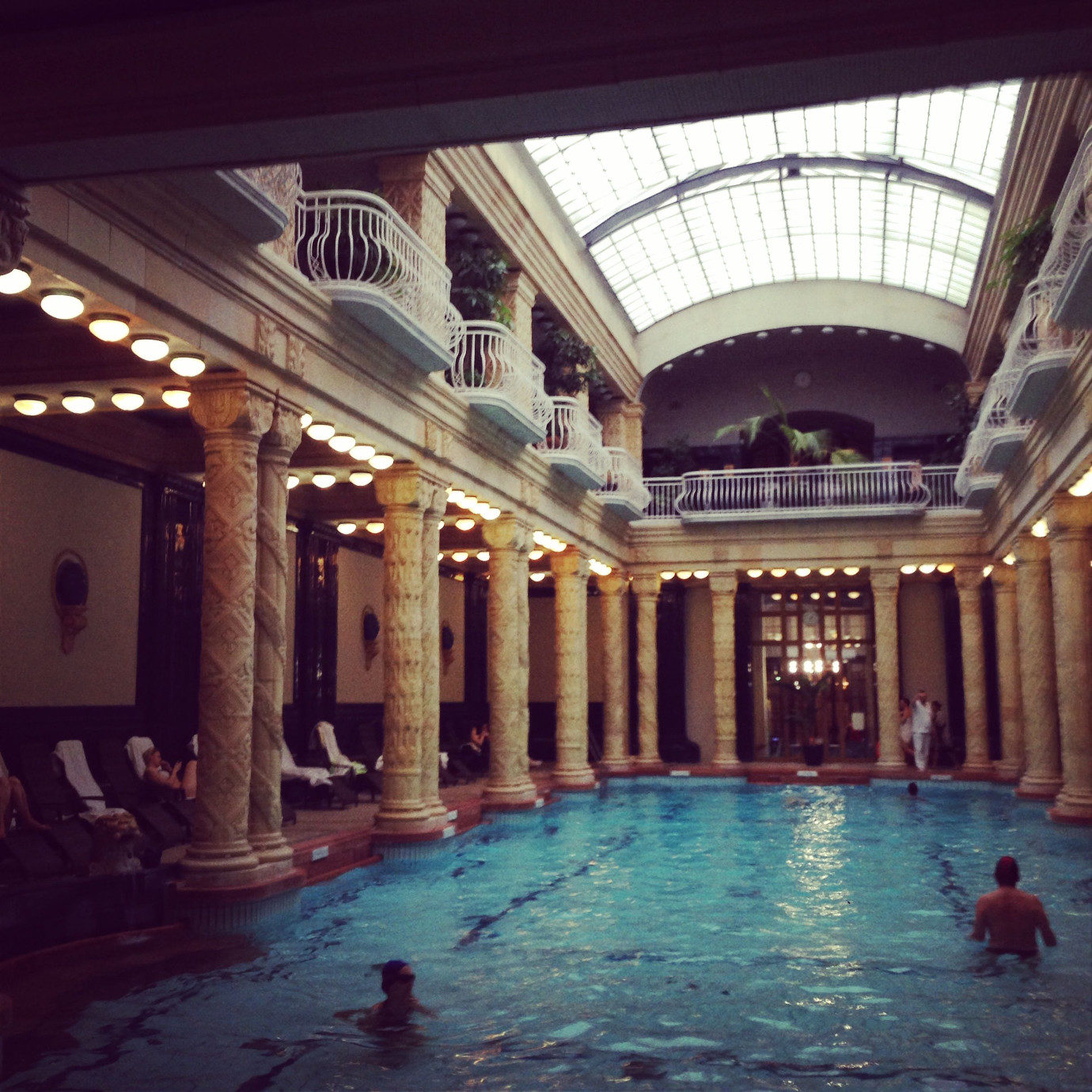 One of Budapest's many famous thermal pools. The superhot pool scene with Luce and Daniel was filmed here.