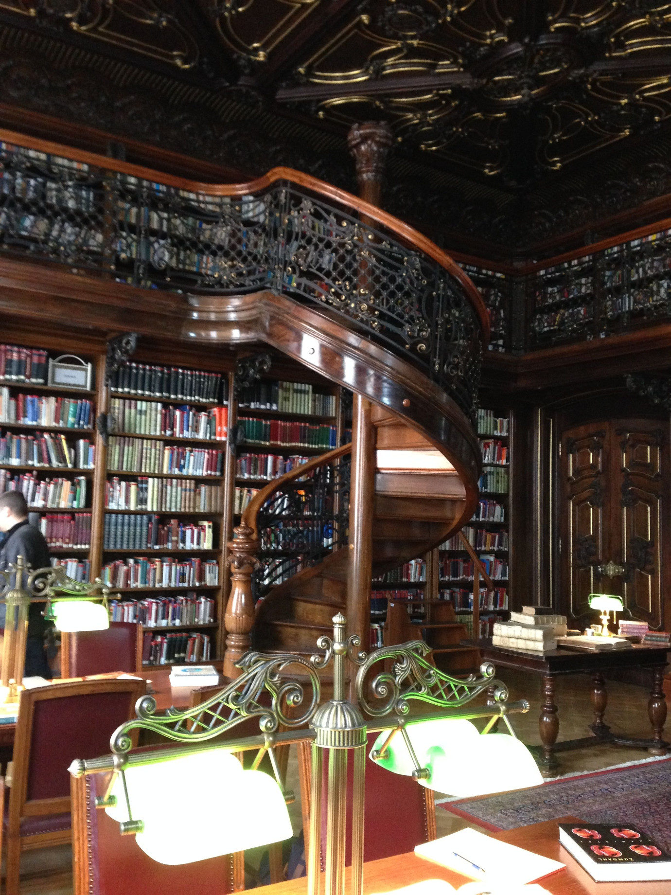 The Sword & Cross library was filmed in a working and extravagantly beautiful public library. The only thing we had to change was to remove an antique chandelier, for which the world's foremost chandelier mover had to be called in. Seriously.