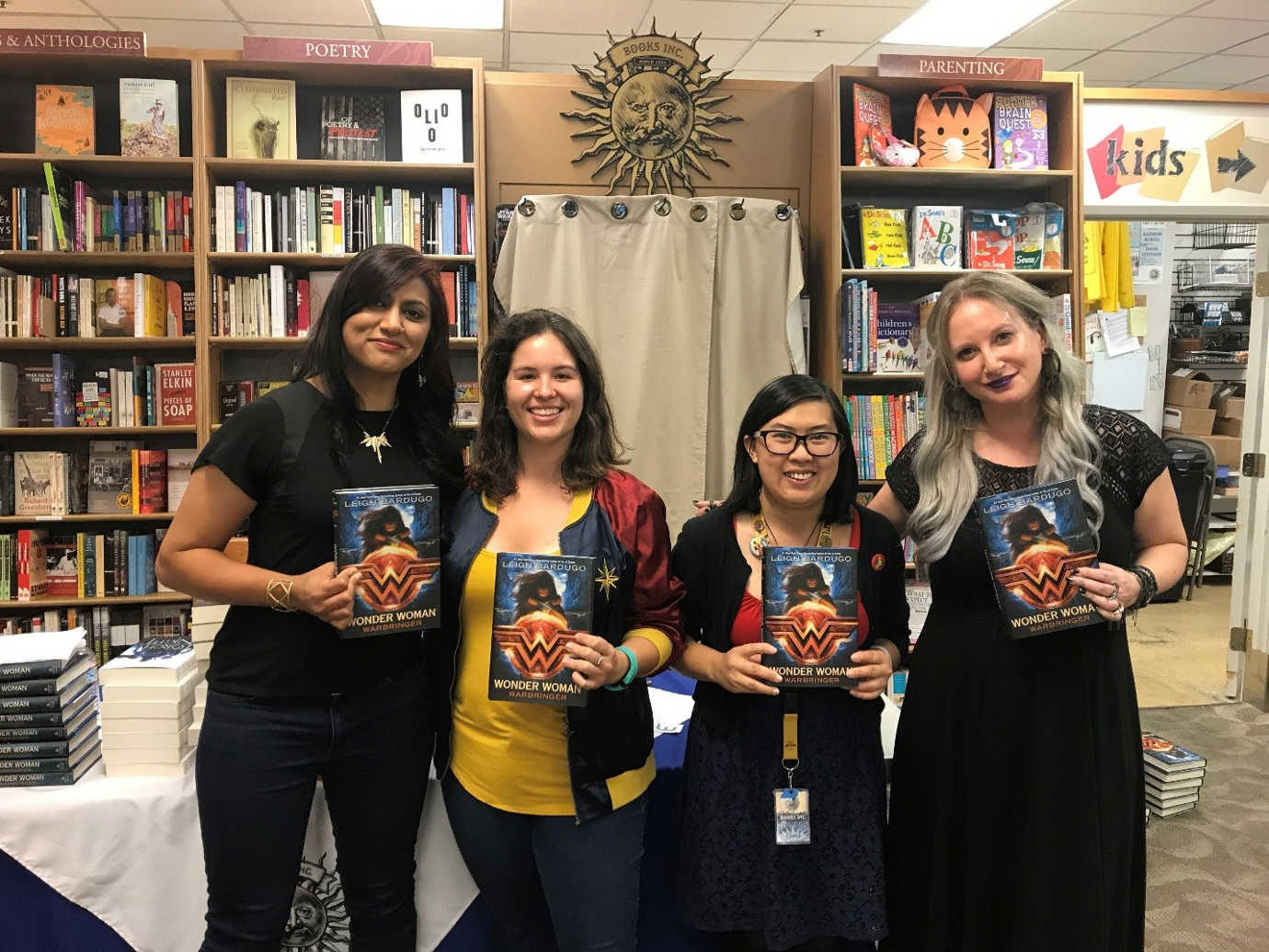 This was taken at our event for the release of Leigh Bardugo's Wonder Woman: Warbringer. She was in conversation with local author Sabaa Tahir. I'm the one in the sweet Wonder Woman jacket, and Connie, in the middle, is a fellow bookseller and one of the first members of Not Your Mother's Book Club!