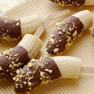Bananas dipped in chocolate