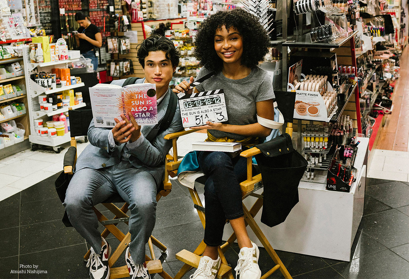 "(L-r) CHARLES MELTON and YARA SHAHIDI on the set of Warner Bros. Pictures' and Metro-Goldwyn-Mayer Pictures' ""THE SUN IS ALSO A STAR,"" a Warner Bros. pictures release. Photo by Atsushi Nishijima"